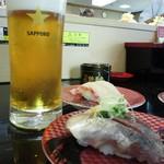 すし銚子丸 - 恵比寿ビールと鯵と鯛