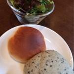 寿カフェ - ランチ パスタセットのサラダとパン