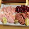 森本 - 料理写真:とり、レバ、砂きも、刺し3種盛 (2014/01)