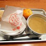 23924768 - 給食セット パート1(750円) きなこのあげぱん、カレーシチュー、冷凍みかん