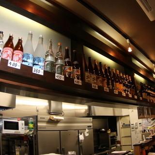 種類豊富な焼酎はグラス・ボトル共にご用意しています