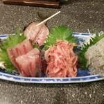 魚炉助 - 沼津三点盛り合わせ(アジ、桜えび、生しらす) 1,580円