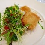 ラシェリール - 天使の衣をまとったホタテ貝 ポロ葱のグリエ サラダ仕立て