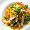 il desiderio ORTAGGIO - 料理写真:【手打ちパスタ】バヴェッテ アオリイカのグリルと菜の花 カラスミ添え