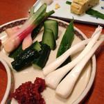 酒郷吉春 - 谷中生姜、エシャロット、胡瓜諸味噌450円