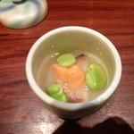 24309351 - 前菜<蓮根すり流し、雲丹、シイタケ、一寸豆>