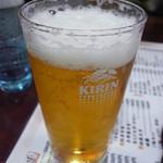 海幸山幸 越中茶屋 - 白エビセットのビールはグラス