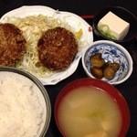海鮮居酒屋 一心 - メンチカツ定食650円