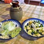宮入そば - 蕎麦ツユ & 薬味 & 漬物
