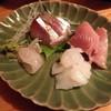 つくしんぼ - 料理写真:ランチの刺身(縞鯵・いか・鯛・まぐろ)定食(900円)2014年3月