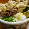 風月 - 料理写真:<2014年3月追加>ぜいたくかしわ天おろし。かしわ天とたっぷりの牛肉におろしが付きます。700円。