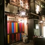 江戸肉割烹 ささや - 路地裏にあってわかりにくい店先。飾りの色合いがすごい