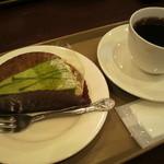 カフェテラス - ケーキセット¥550抹茶タルト&珈琲