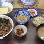 近江かね安 - 「焼肉丼定食」(1,050円)の大盛り(+100円)