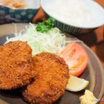 赤坂 若狭 - 若狭牛のメンチカツ定食【2013年10月】