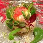 25597064 - 14.3月 ホタテのカルパッチョ フレッシュトマトのムース