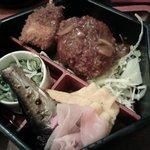 25665197 - コロッケ、玉ねぎの串、鯖の塩焼き、だし巻き卵、きゅうりとじゃこの酢の物、甘酢しょうが1段