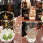和田屋 - サッポロ瓶ビール(大瓶)¥530/ホッピーセット¥400