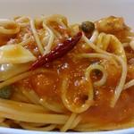 25714154 - プチレストラン JEAN D'AILE @葛西 1.5ミリほどの太さのアルデンテスパゲッティとたっぷりの小海老・烏賊・帆立が使われます