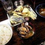 天ぷら かずき - ライス・お好み天ぷら・あさり汁