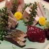 もくれん - 料理写真:時計回りに、めじまぐろ・わらさ・くじら・さば・太刀魚
