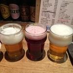 25885164 - 左 はんなりIPA                       中 箕面ビール カベルネ                       右 Sanktgallen さくらエール                                              この季節特筆は右‼︎                       桜餅の香りに苦味しっかりの本格派の味わいが良く合う
