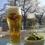 カフェ ステーション - 生ビール中+枝豆で花見!