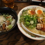 麺屋 七福神 - チャーシュー飯セット(味玉つき 980円)