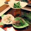 日本料理 桜楽 - 料理写真:<4月夜肉魚>菜の花のごま和え、白和え、ホタルイカの木の芽和え
