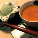 日本料理 桜楽 - <4月夜肉魚>よもぎのアイスとプリン