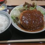 臍 - 特選佐賀牛ジャンボメンチカツ定食(1,030円)