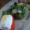 ヴァンヴィーノ - 料理写真:ゴルゴンゾーラチーズのカプレーゼ、菜花と甘海老のタルタル・セルクル仕立て