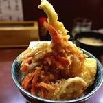 天丼の岩松 - 海鮮丼!そびえ立つは金沢小柴産の穴子天なり!