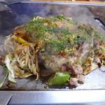村上お好焼 - 砂ずり玉+牡蠣(1,200円)