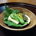 山茶花 - 煮鮑とウニの湯葉巻き