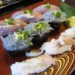 双葉寿司 - 「生ゲソ・生しらす・アジ」