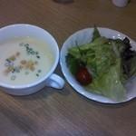 27166190 - ポテトスープとサラダ