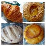 ジョアン - クロワッサン・・バタータップリ。 *中に「マーマレード」が入ったパン・・かなり甘めのマーマレードでした。 *ジャガイモパン・・ジャガイモ1個入っています。*ブルーベリーパン