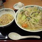 日高屋 - 野菜たっぷりタンメン+半炒飯