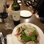 OTTO - パルマ産生ハムとパルミジャーノチーズのサラダ1200円+赤ワイン
