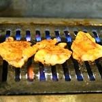ホルモン焼肉 肉の大山 - ガスロースターで焼きます(焼いているのは極ホルモン)