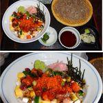 いづ味 - 海鮮チラシ丼セット。蕎麦処 出雲そば いづ味(東京都港区泉ガーデンタワー1階)食彩賓館撮影