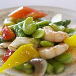 四川飯店 - 【期間限定 季節の料理】そら豆とエビの塩炒め