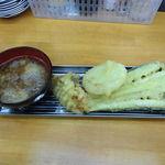 魚介 - 天麩羅!貝柱、タマネギ、なすび