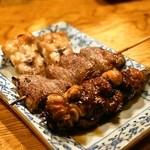 五味鳥 - 料理写真:2014.5 ボン尻、ハツ(ココロ)、玉ひも
