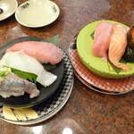 すし 銚子丸 - 料理写真:'14/05/30 サムライ3カン(480円)&なでしこ3カン(500円)