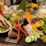 Gotto - 地獲れ魚介の刺身盛り合わせ5種盛:1580円(アナゴ・タイ・サバ・タコ・サワラ)