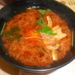廻鮮寿し丸徳 - 温泉タマゴの赤出汁