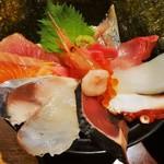 28179919 - 「海鮮丼」980円(税別)彩も良く、とても美味しイです。焼き海苔がおおぎ状に背景になっているのが印象的です。