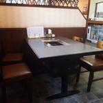 すから - テーブル席。焼き肉用のコンロがあります